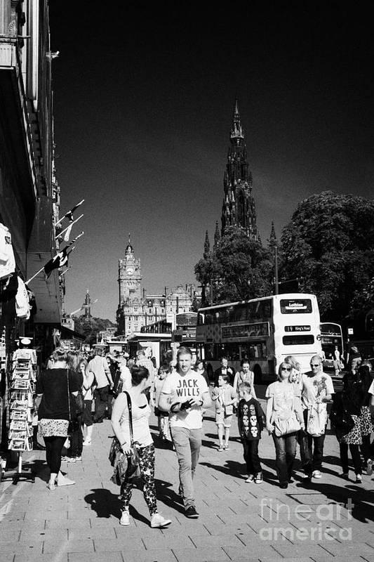 Princes Print featuring the photograph Shoppers And Tourists On Princes Street Edinburgh Scotland Uk United Kingdom by Joe Fox