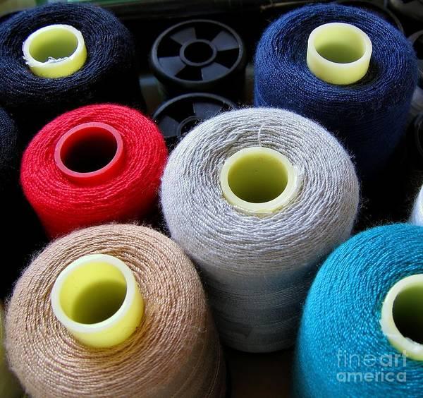Yarn Print featuring the photograph Spools Of Yarn by Yali Shi