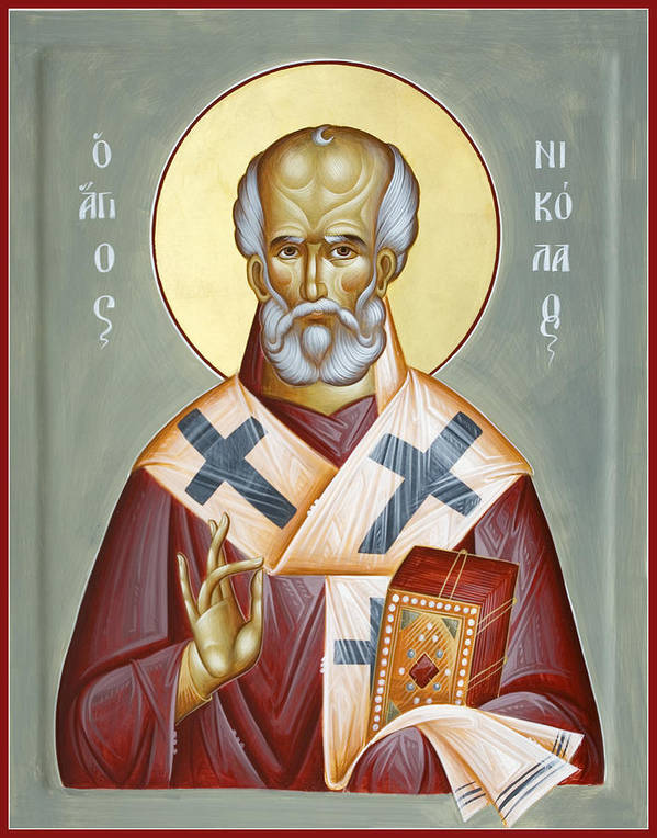 St Nicholas Of Myra Print featuring the painting St Nicholas Of Myra by Julia Bridget Hayes