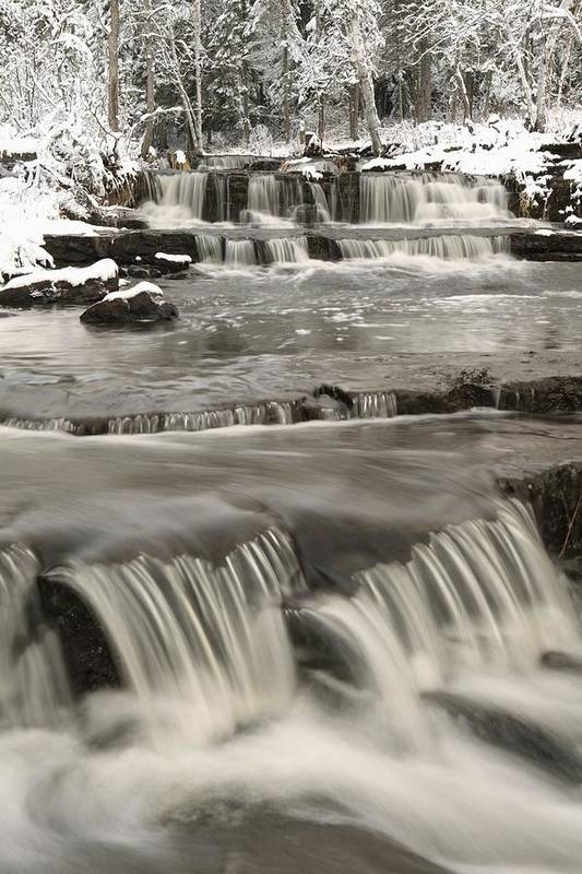 Cascade Print featuring the photograph Waterfalls With Fresh Snow Thunder Bay by Susan Dykstra