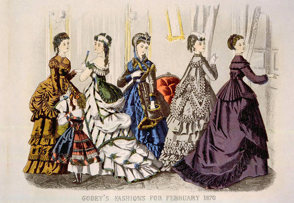 1870s Fashion Print featuring the photograph Womens Fashions From Godeys Ladys Book by Everett