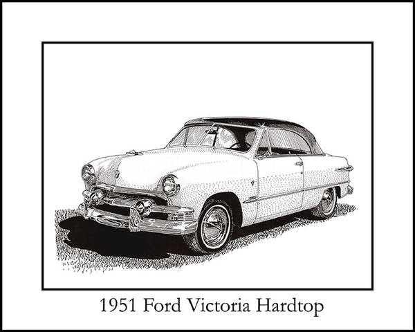 Framed Pen And Ink Images Of Classic 191 Ford Cars. Pen And Ink Drawings Of Vintage Classic Cars. Black And White Drawings Of Cars From The 1930�s Print featuring the drawing 1951 Ford Victoria Hardtop by Jack Pumphrey