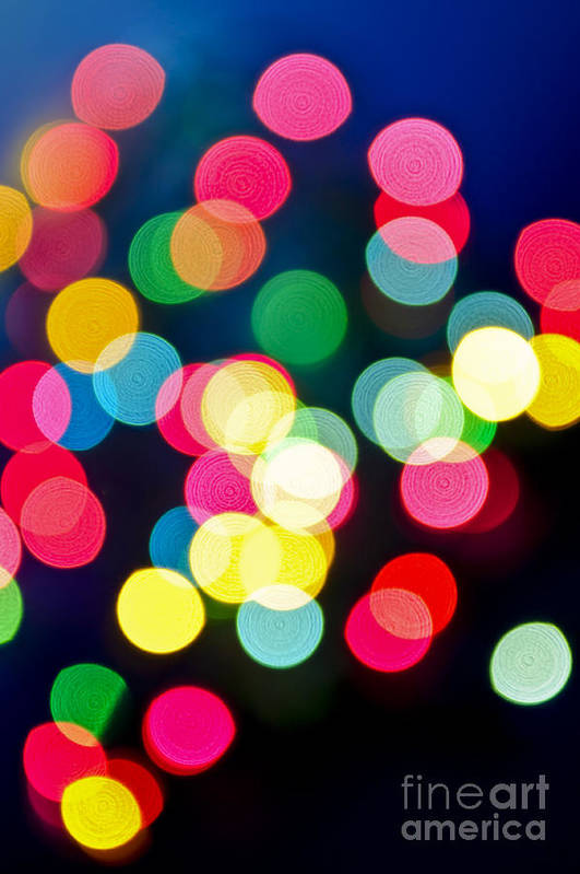 Blurred Print featuring the photograph Blurred Christmas Lights by Elena Elisseeva