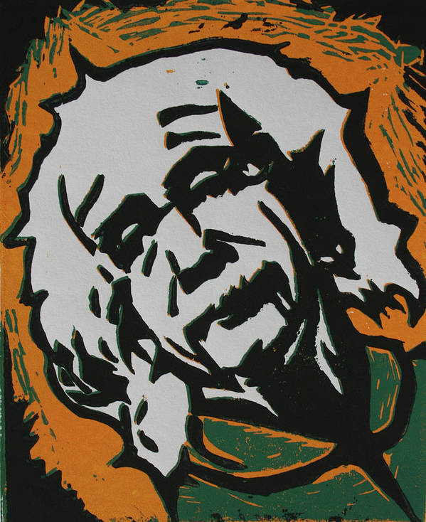 Lino Print featuring the drawing Einstein 2 by William Cauthern
