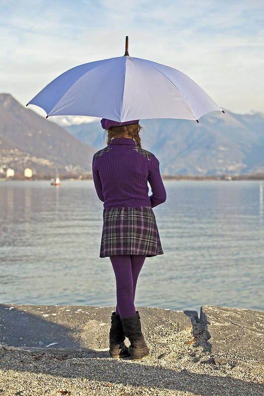 Girls Print featuring the photograph Girl With Umbrella by Joana Kruse