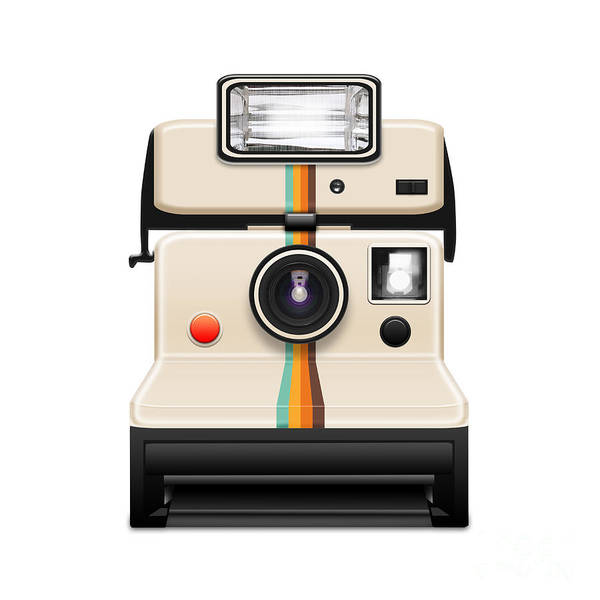 Analog Print featuring the photograph Instant Camera With A Blank Photo by Setsiri Silapasuwanchai