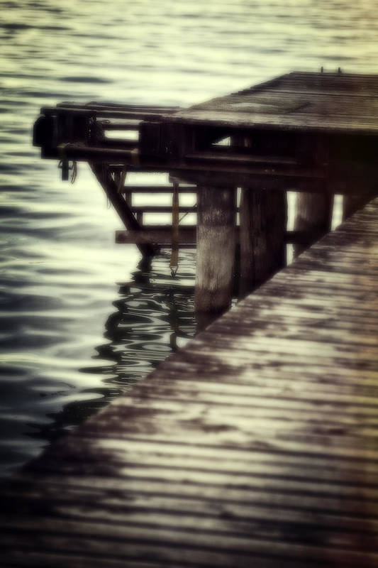 Bridge Print featuring the photograph Old Wooden Pier With Stairs Into The Lake by Joana Kruse