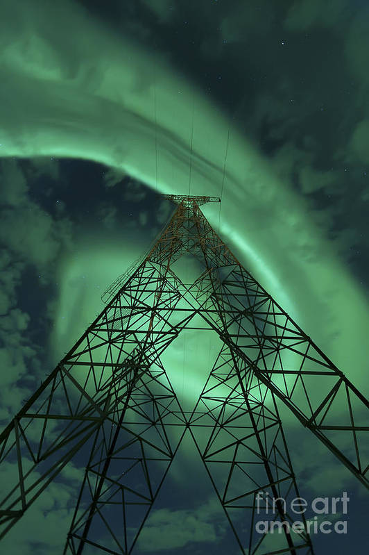 Green Print featuring the photograph Powerlines And Aurora Borealis by Arild Heitmann