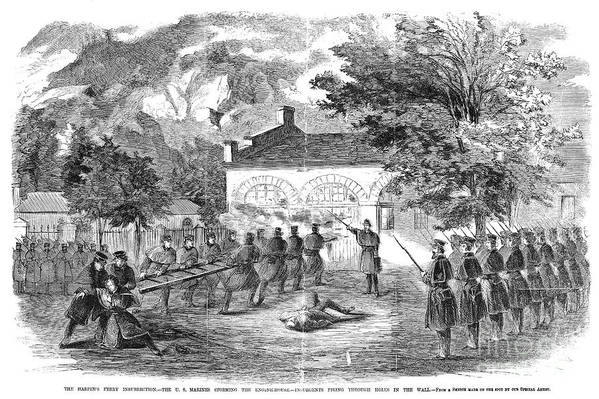 1859 Print featuring the photograph Harpers Ferry, 1859 by Granger
