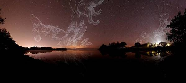 Corona Borealis Print featuring the photograph Constellations In A Night Sky by Laurent Laveder