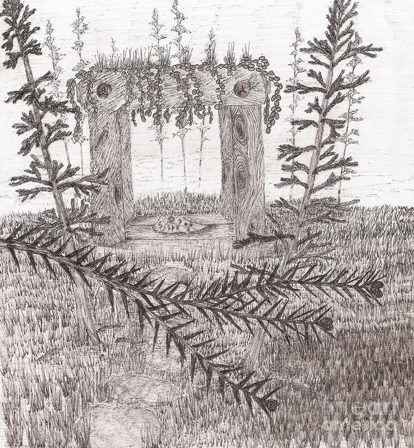 Shrine Print featuring the drawing A Place For The Old Gods... - Sketch by Robert Meszaros