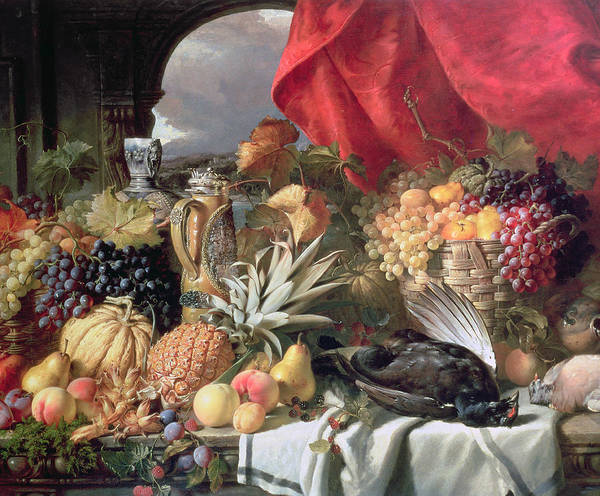 A Still Life Of Game Birds And Numerous Fruits Print featuring the painting A Still Life Of Game Birds And Numerous Fruits by William Duffield
