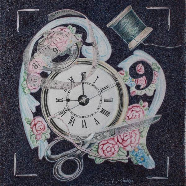 Fantasy Realistic Still Life Print featuring the painting A Stitch In Time by Patsy Sharpe