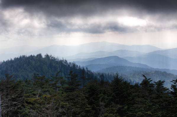 Great Smokey Mountains Print featuring the photograph A Storm Over The Smokys by Pixel Perfect by Michael Moore
