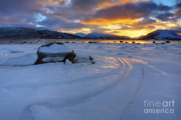 Evenskjer Print featuring the photograph A Winter Sunset Over Tjeldsundet by Arild Heitmann