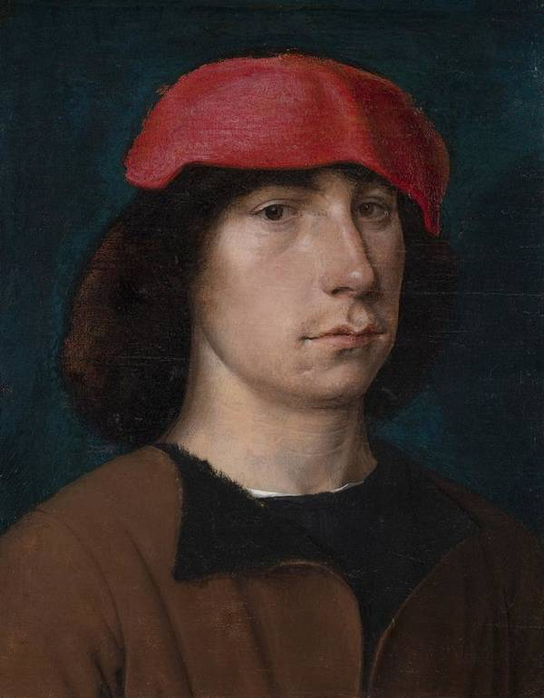 Young Print featuring the painting A Young Man In A Red Cap by Michiel Sittow