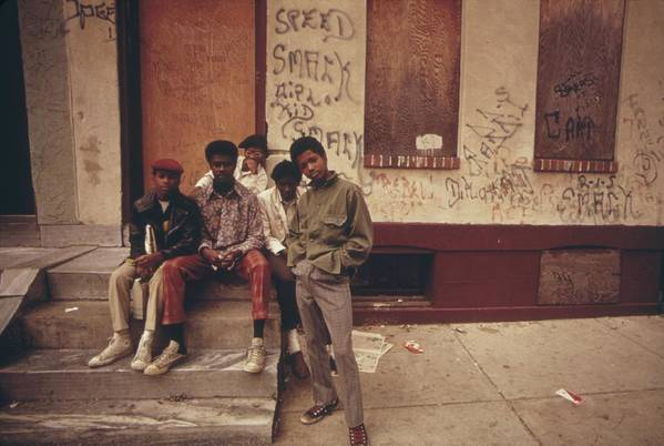 History Print featuring the photograph African American Teenage Street Gang by Everett