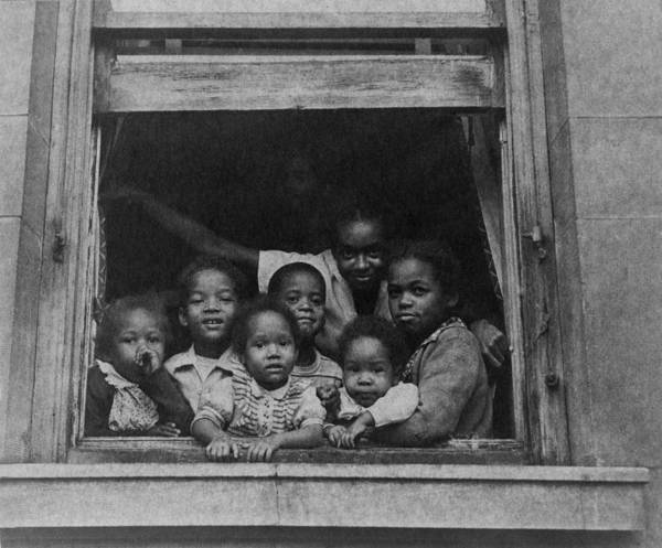 History Print featuring the photograph African American Woman And Six Children by Everett