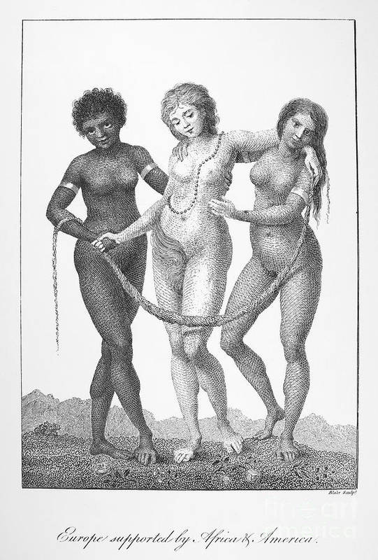 1796 Print featuring the photograph Allegory: Slave Trade, 1796 by Granger