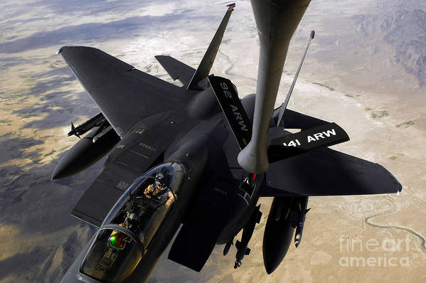 Canopy Print featuring the photograph An F-15e Strike Eagle Aircraft Receives by Stocktrek Images