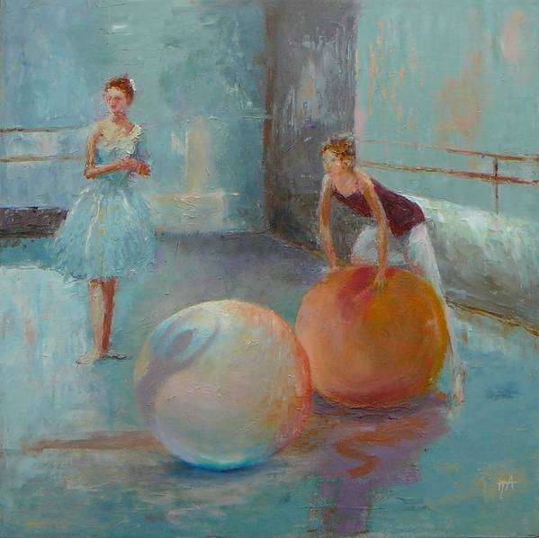 Ballet Print featuring the painting Ballet Class With Balls by Irena Jablonski
