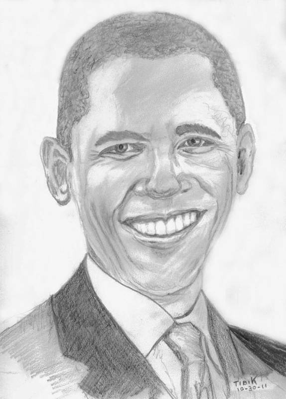 Barack Obama Print featuring the drawing Barack Obama by Tibi K