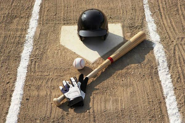Horizontal Print featuring the photograph Baseball, Bat, Batting Gloves And Baseball Helmet At Home Plate by Thomas Northcut