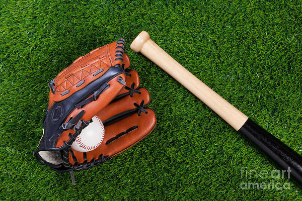 Baseball Glove Print featuring the photograph Baseball Glove Bat And Ball On Grass by Richard Thomas