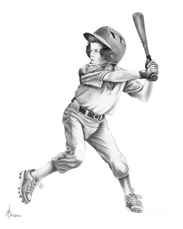 Drawing Print featuring the drawing Baseball Kid by Murphy Elliott