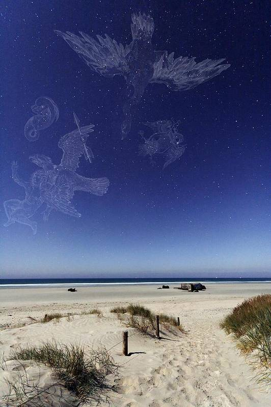 Star Print featuring the photograph Beach Under A Full Moon by Laurent Laveder