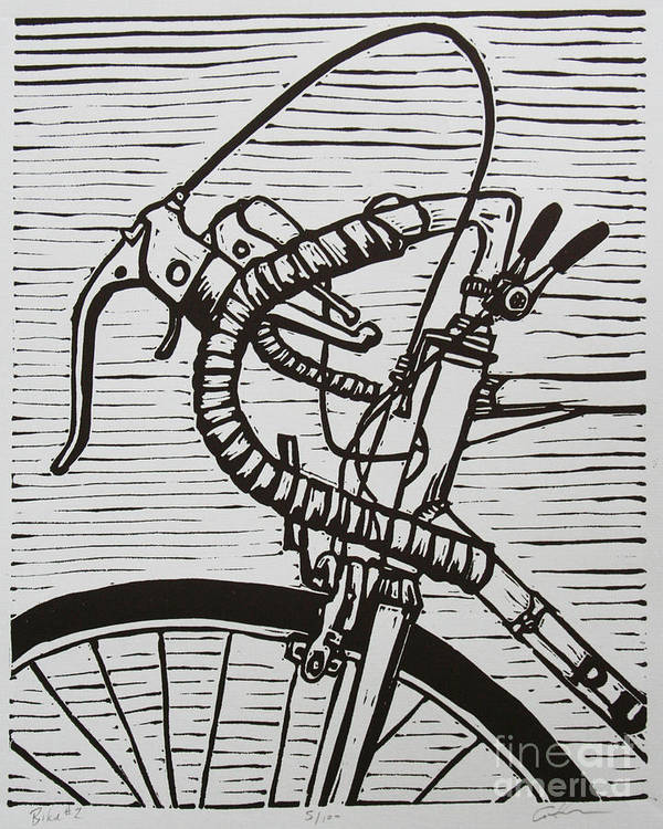 Bike Print featuring the drawing Bike 2 by William Cauthern