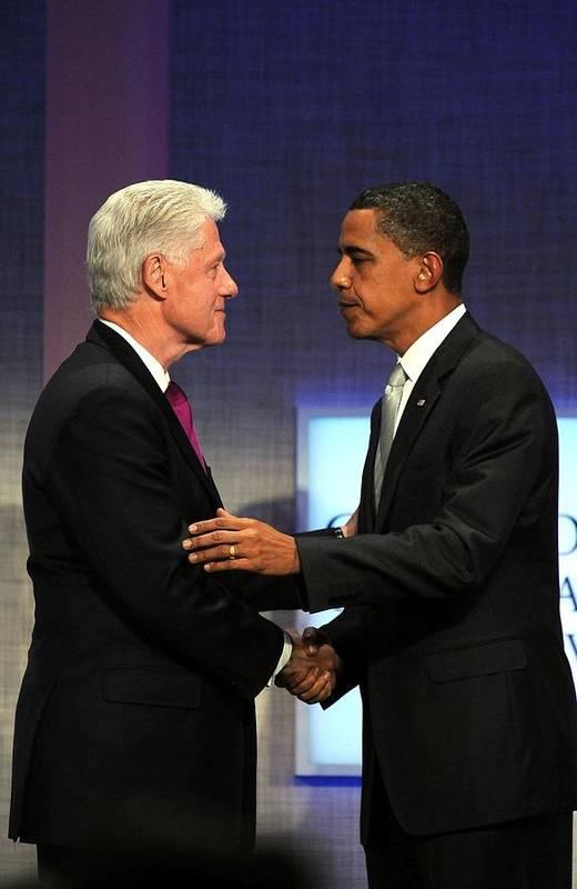 Bill Clinton Print featuring the photograph Bill Clinton, Barack Obama At A Public by Everett