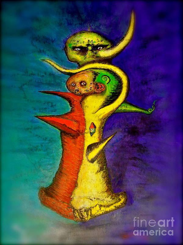 Voodoo Print featuring the painting Biohazard Voodoo by Raul Morales