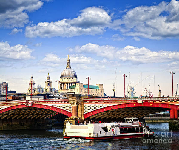 Blackfriars Print featuring the photograph Blackfriars Bridge And St. Paul's Cathedral In London by Elena Elisseeva
