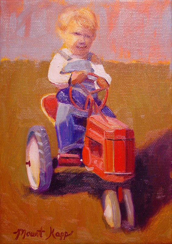 Cintage Print featuring the painting Boy On Tractor by The Vintage Painter