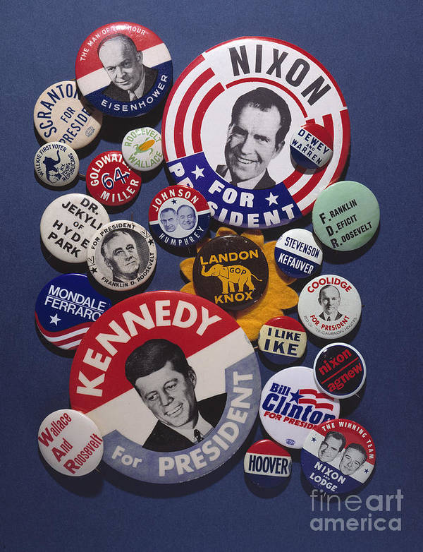 20th Century Print featuring the photograph Campaign Buttons by Granger