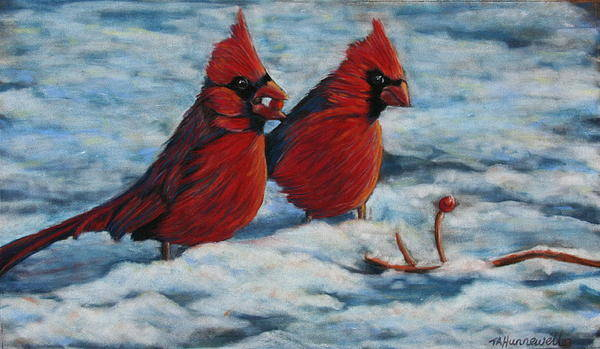 Cardinals In Snow Poster Print featuring the pastel Cardinals In Winter by Tracey Hunnewell