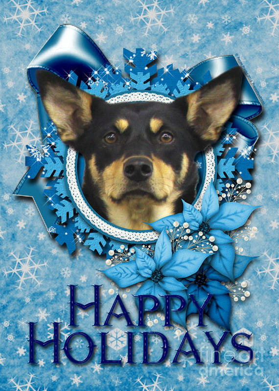 Australian Kelpie Print featuring the digital art Christmas - Blue Snowflakes Australian Kelpie by Renae Laughner