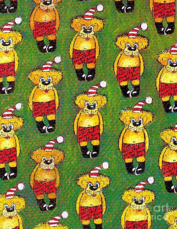 Christmas Print featuring the painting Christmas Teddy Bears by Genevieve Esson