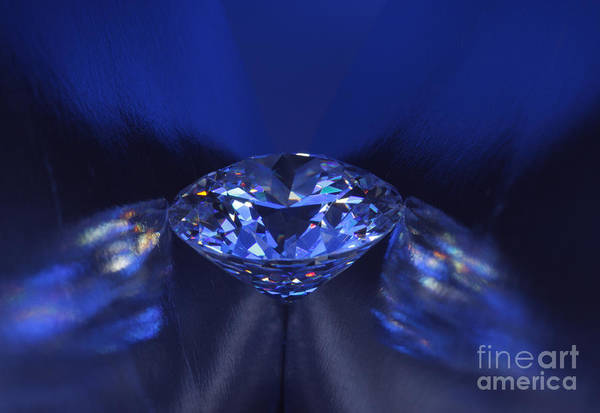 Abundance Print featuring the jewelry Closeup Blue Diamond In Blue Light. by Atiketta Sangasaeng