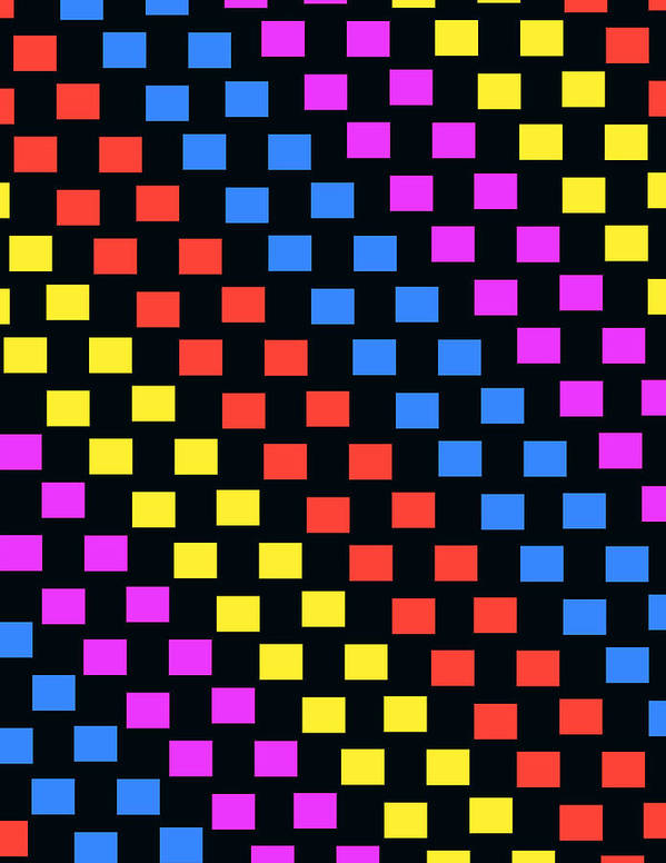 Louisa Print featuring the digital art Colorful Squares by Louisa Knight