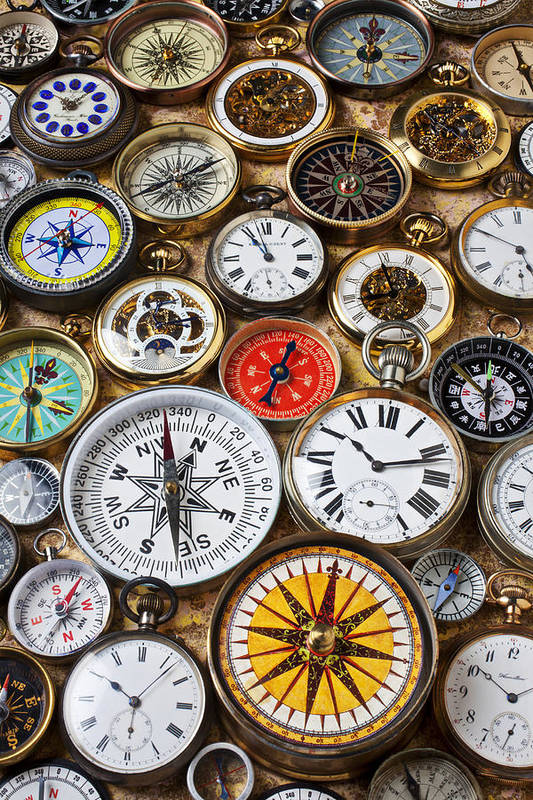 Watch Print featuring the photograph Compases And Pocket Watches by Garry Gay