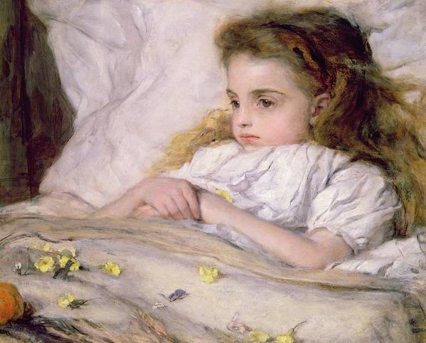 In Bed Print featuring the painting Convalescent by Frank Holl