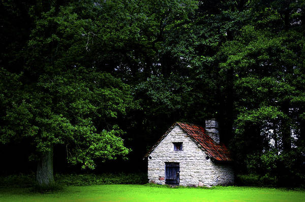 Architecture Print featuring the photograph Cottage In The Woods by Fabrizio Troiani
