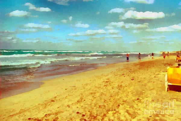 Odon Print featuring the painting Cuba Beach by Odon Czintos