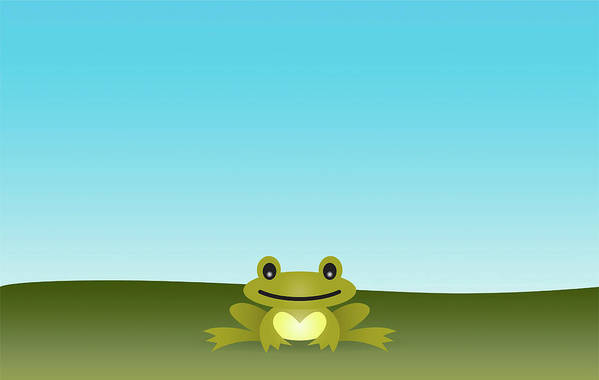 Horizontal Print featuring the digital art Cute Frog Sitting On The Grass by © Roctopus