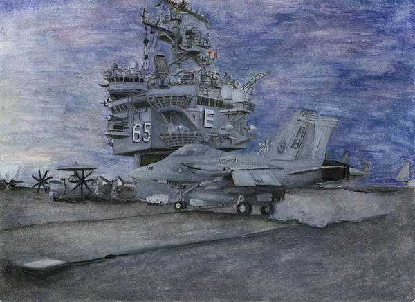 Navy Print featuring the painting Cvn 65 Uss Enterprise by Sarah Howland-Ludwig