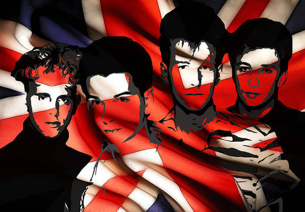 Depeche Mode Brit Pop Synthie Synthesizer Heros Famous British Band Group 80 Print featuring the digital art Depeche Mode 80s Heros by Stefan Kuhn