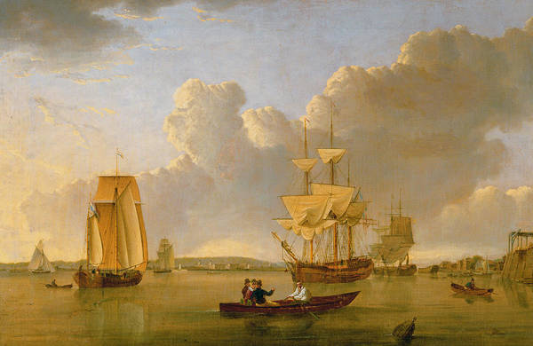 Deptford On Thames With A Distant View Of Greenwich Print featuring the painting Deptford On Thames With A Distant View Of Greenwich by John of Hull Ward