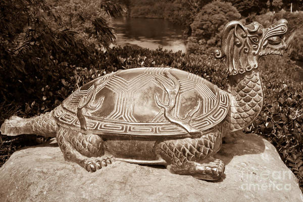 Dragon Print featuring the sculpture Dragon Turtle Figure by Yurix Sardinelly